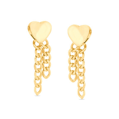 14kt Yellow Gold Heart and Curb Chain Drop Earrings
