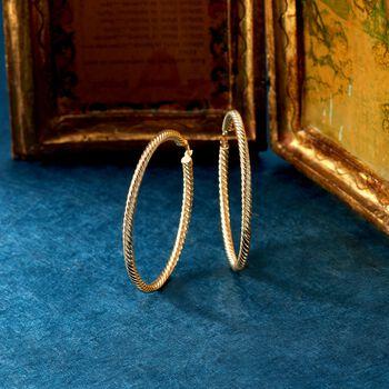 """14kt Yellow Gold Twist Hoop Earrings. 2"""", , default"""