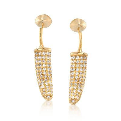 .75 ct. t.w. CZ Jewelry Set: Stud Earrings and Front-Back Horn Jackets in 14kt Gold Over Sterling, , default