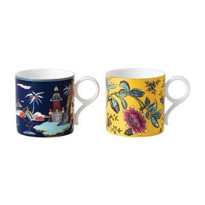 """Wedgwood """"Wonderlust"""" Blue Pagoda and Yellow Tonquin 2-pc Mug Set"""
