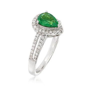 .90 Carat Pear-Shaped Tsavorite and .30 ct. t.w. Diamond Halo Ring in 14kt White Gold