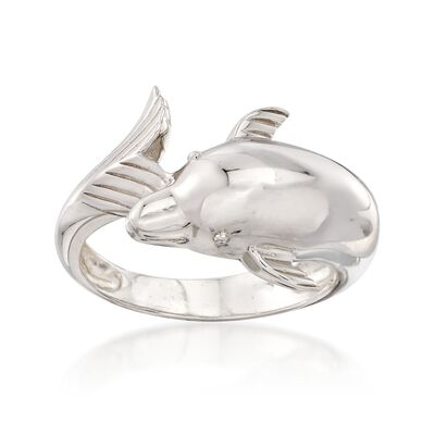 Sterling Silver Dolphin Bypass Ring, , default
