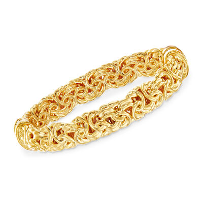 Andiamo 14kt Yellow Gold Byzantine Bangle Bracelet, , default