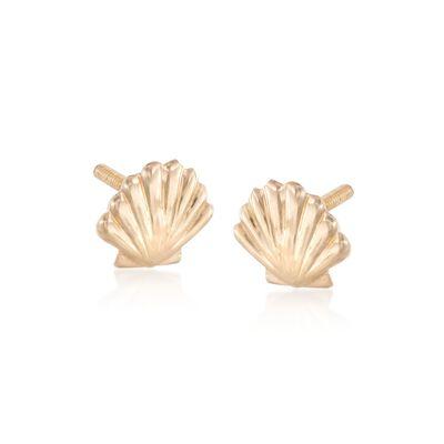 Child's 14kt Yellow Gold Seashell Motif Stud Earrings, , default