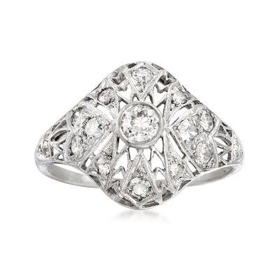 C. 1950 Vintage .60 ct. t.w. Diamond Filigree Ring in Platinum, , default