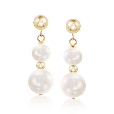5-9mm Cultured Pearl Drop Earrings in 14kt Yellow Gold, , default