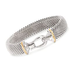 "Phillip Gavriel ""Popcorn"" Sterling Silver and 18kt Gold Hook Clasp Bracelet, , default"