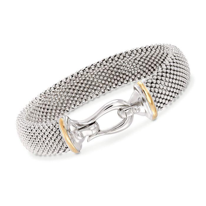 """Phillip Gavriel """"Popcorn"""" Sterling Silver and 18kt Gold Hook Clasp Bracelet. 7.5"""", , default"""