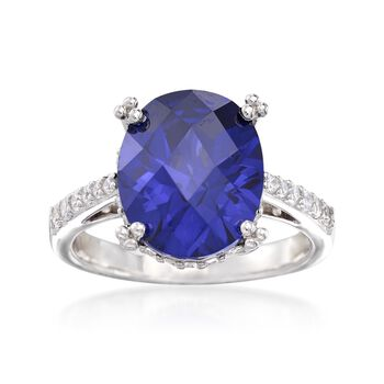 Oval Simulated Tanzanite and .34 ct. t.w. CZ Ring in Sterling Silver, , default