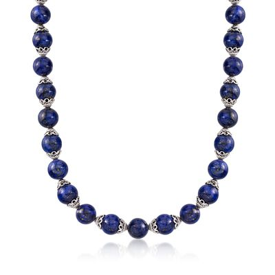 Lapis Bead Necklace with Sterling Silver, , default