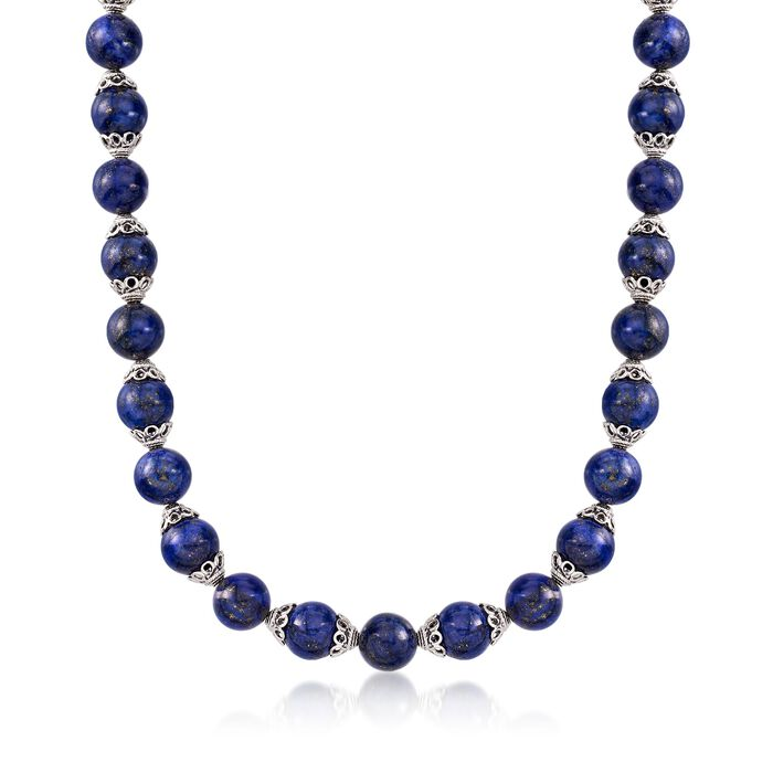 """Lapis Bead Necklace with Sterling Silver. 18"""", , default"""