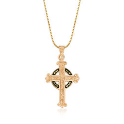 C. 1990 Vintage 14kt Yellow Gold and Green Enamel Celtic Cross Pendant Necklace in 14kt Yellow Gold, , default