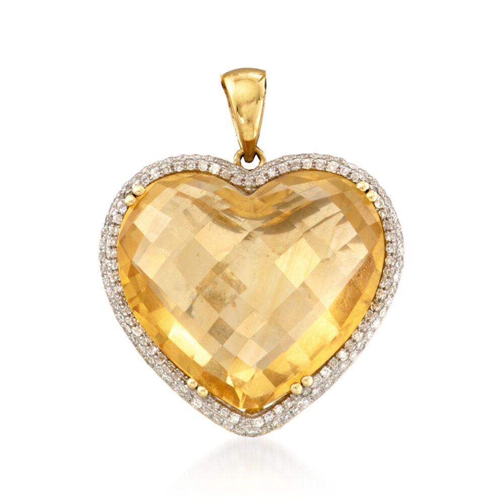 2000 carat citrine and 43 ct tw diamond heart pendant in 14kt tw diamond heart pendant in 14kt yellow gold aloadofball Images
