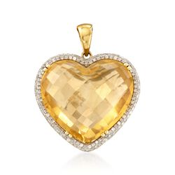 20.00 Carat Citrine and .43 ct. t.w. Diamond Heart Pendant in 14kt Yellow Gold, , default