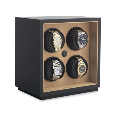 """Insafe"" Black Faux Leather Quadruple Watch Winder by Orbita, , default"
