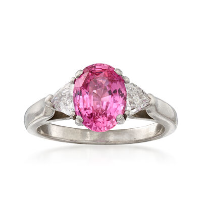 C. 1990 Vintage 2.45 Carat Pink Sapphire and .50 ct. t.w. Diamond Ring in Platinum, , default