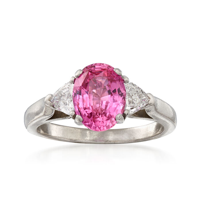 C. 1990 Vintage 2.45 Carat Pink Sapphire and .50 ct. t.w. Diamond Ring in Platinum. Size 6.5