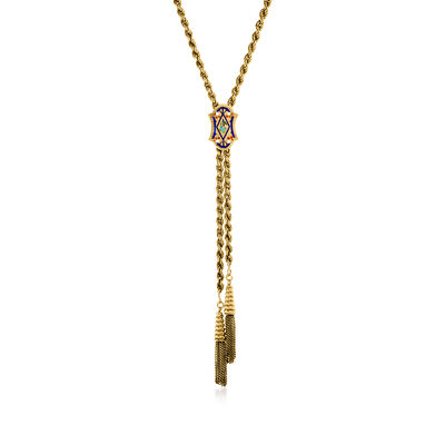C. 1970 Vintage Multicolored Enamel Tassel Slide Necklace in 14kt Yellow Gold