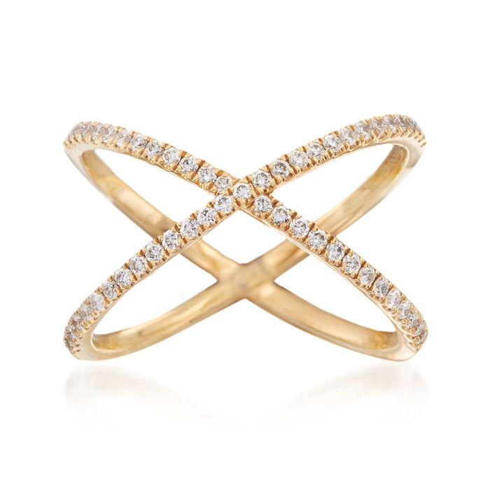 Henri Daussi .28 ct. t.w. Diamond Crisscross Ring in 14kt Yellow Gold. Size 6