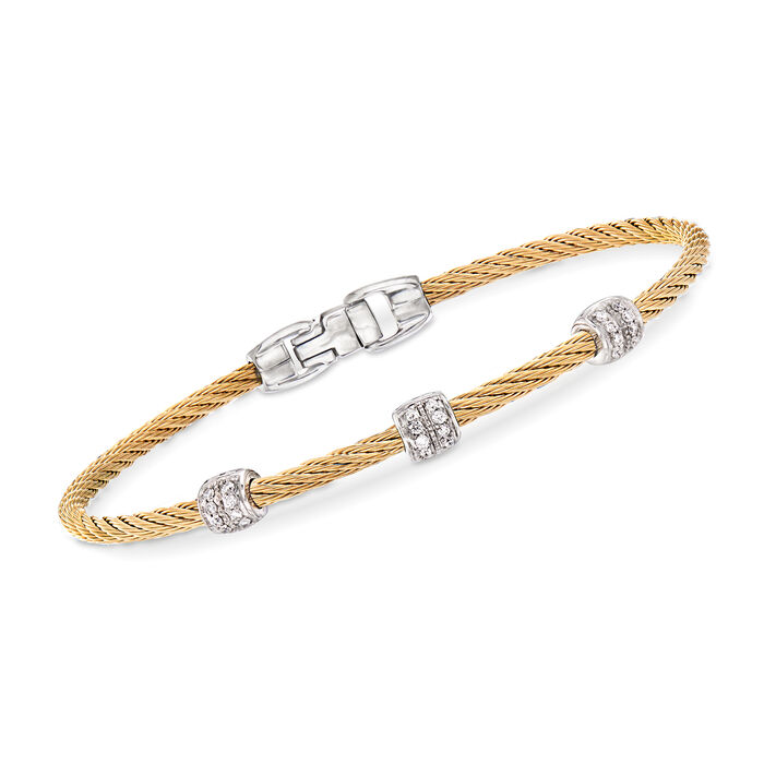 """ALOR """"Classique"""" .21 ct. t.w. Diamond Yellow Stainless Steel Cable Bracelet with 18kt White Gold. 7"""", , default"""