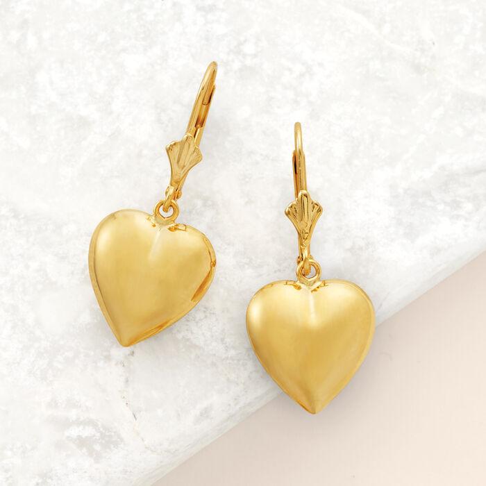 14kt Yellow Gold Puffed Heart Drop Earrings