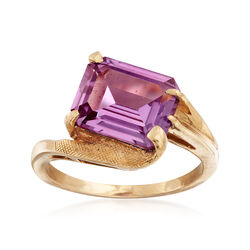C. 1960 Vintage 3.50 Carat Color Changing Synthetic Sapphire Ring in 10kt Yellow Gold, , default