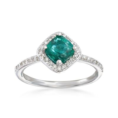 1.00 Carat Emerald and .25 ct. t.w. Diamond Ring in 14kt White Gold, , default