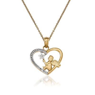 14kt Yellow Gold Angel Pendant Necklace, , default