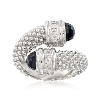 "Phillip Gavriel ""Popcorn"" Black Onyx and .14 ct. t.w. Diamond Bypass Ring in Sterling Silver"