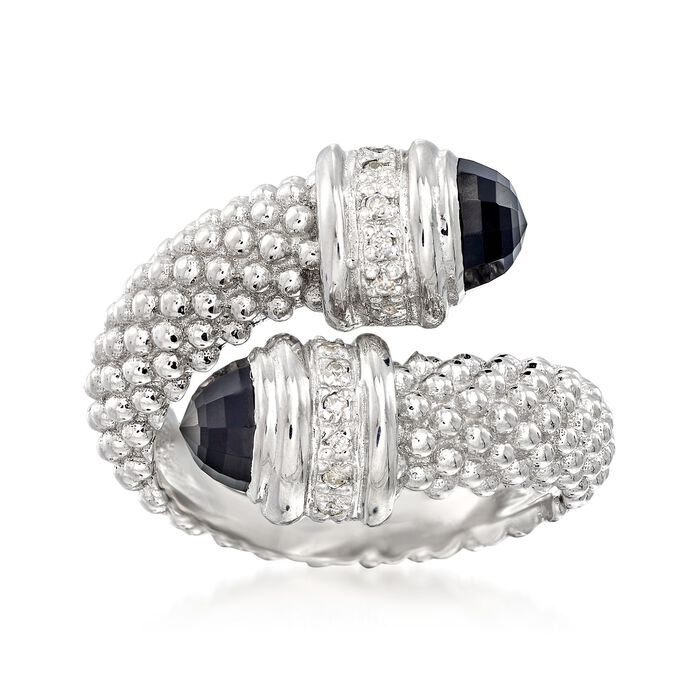 """Phillip Gavriel """"Popcorn"""" Black Onyx and .14 ct. t.w. Diamond Bypass Ring in Sterling Silver. Size 7"""