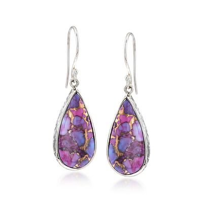 Teardrop Purple Turquoise Earrings in Sterling Silver, , default