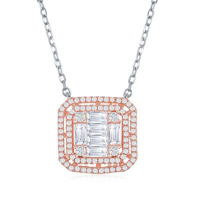 1.33 ct. t.w. Baguette and Round CZ Square Necklace in Two-Tone Sterling Silver, , default