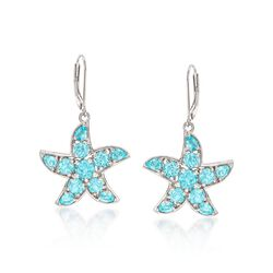5.60 ct. t.w. Apatite Starfish Drop Earrings in Sterling Silver, , default