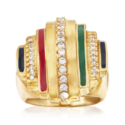 Italian .35 ct. t.w. CZ and Multicolored Enamel Ring in 18kt Yellow Gold Over Sterling Silver