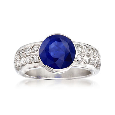 C. 1980 Vintage 3.56 Carat Sapphire and .60 ct. t.w. Diamond Ring in 18kt White Gold, , default