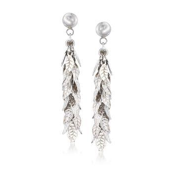 Italian Sterling Silver Multi-Leaf Drop Earrings , , default
