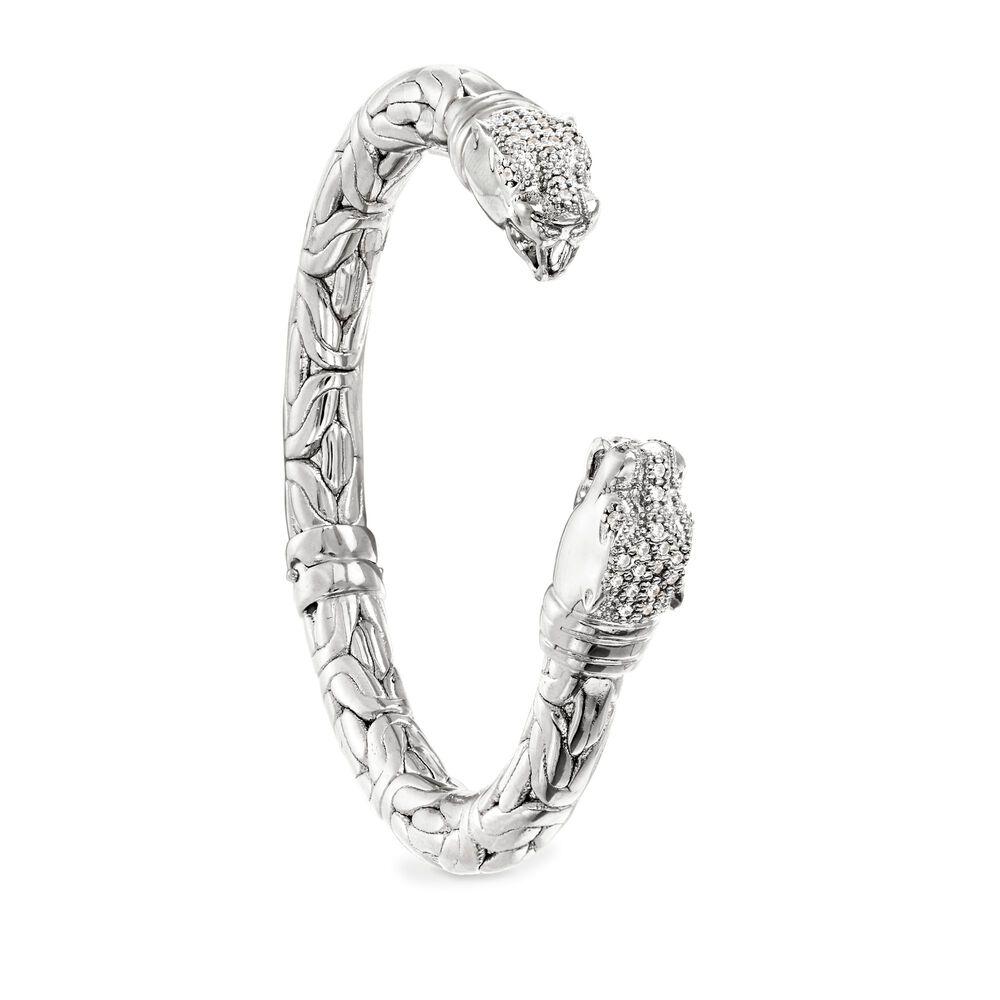45 ct  t w  CZ Double Panther Head Byzantine Cuff Bracelet in Sterling  Silver  7