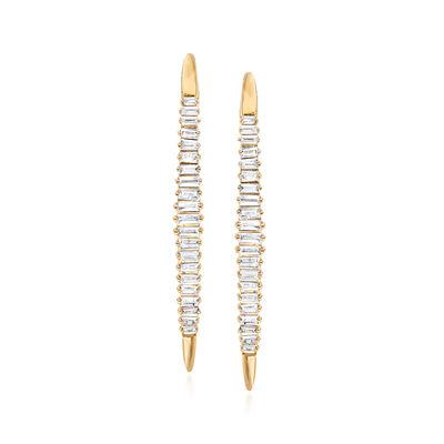 .40 ct. t.w. Diamond Linear Hoop Drop Earrings in 14kt Yellow Gold
