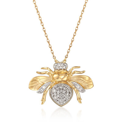 .21 ct. t.w. Diamond Bee Pendant Necklace in 14kt Yellow Gold, , default