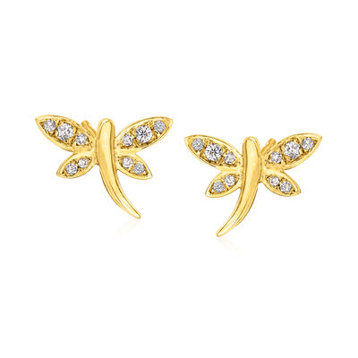 .13 ct. t.w. Diamond Dragonfly Stud Earrings in 18kt Gold Over Sterling