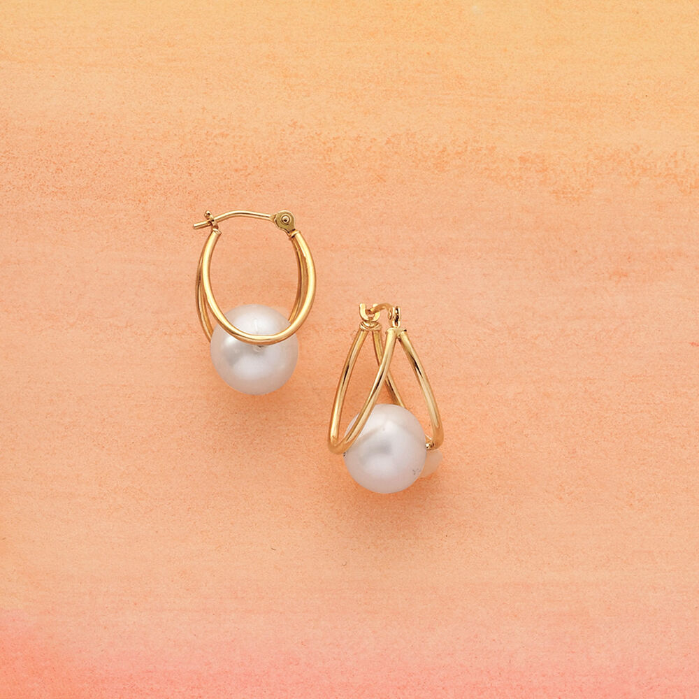"""eda63f6a0 3/4"""" 8-9mm Cultured Pearl Double Hoop Earrings in 14kt Yellow Gold."""