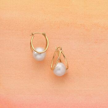 "8-9mm Cultured Pearl Double Hoop Earrings in 14kt Yellow Gold. 3/4"", , default"