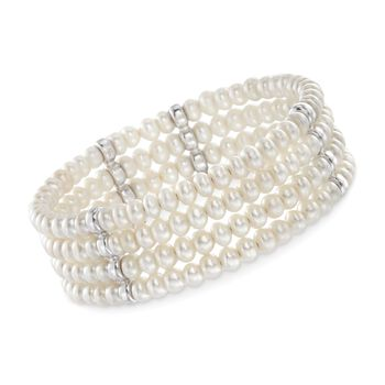 4.5-5mm Cultured Pearl Cuff Bracelet With Sterling Silver, , default