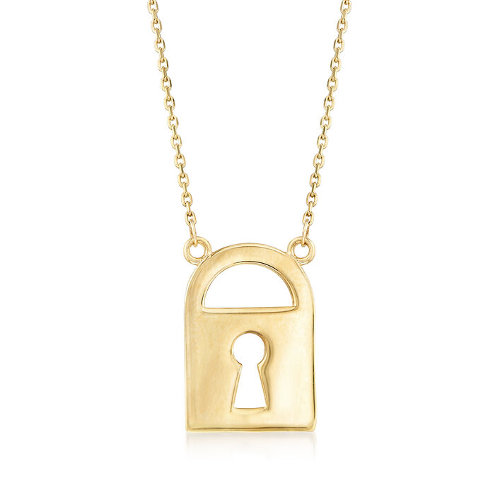 14kt Yellow Gold Stationed Lock Necklace, , default