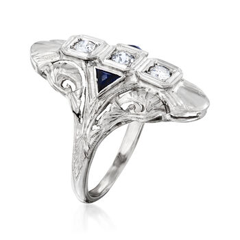 C. 1970 Vintage .25 ct. t.w. Diamond and .15 ct. t.w. Synthetic Sapphire Ring in 18kt White Gold. Size 5, , default