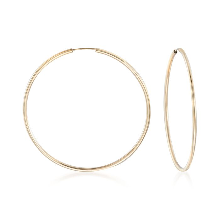"2mm 14kt Yellow Gold Endless Hoop Earrings. 2 1/2"", , default"