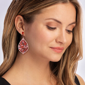 24.95 ct. t.w. Multicolored CZ Drop Earrings in 18kt Rose Gold Over Sterling, , default