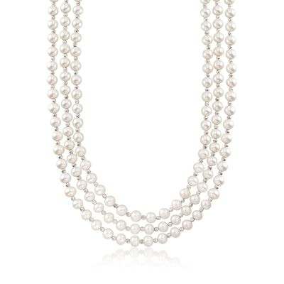 7-7.5mm Cultured Pearl and Sterling Silver Bead Endless Necklace, , default