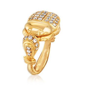 C. 1980 Vintage .66 ct. t.w. Diamond Beetle Ring in 18kt Yellow Gold. Size 6.5, , default