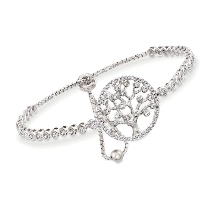 1.50 ct. t.w. CZ Tree of Life Bolo Bracelet in Sterling Silver, , default